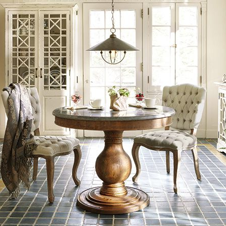 """Widely Used Serrato Pedestal Dining Tables In Luca 39"""" Round Pedestal Dining Table With Bluestone Top In (View 2 of 25)"""