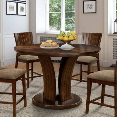 Widely Used Wrought Studio Galbaugh Counter Height Solid Wood Dining Intended For Bar Height Pedestal Dining Tables (View 11 of 25)