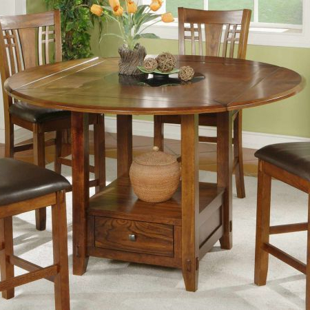 Zahara Counter Height Dining Table With Granite Lazy Intended For Well Liked Counter Height Pedestal Dining Tables (View 10 of 25)
