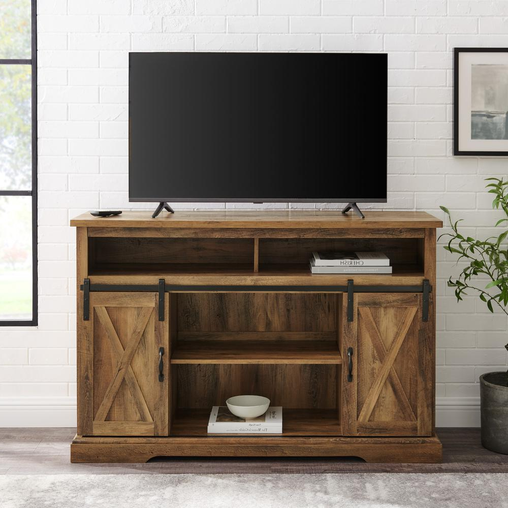 """2017 52"""" Modern Farmhouse High Boy Wood Tv Stand With Sliding In Modern Sliding Door Tv Stands (View 6 of 10)"""