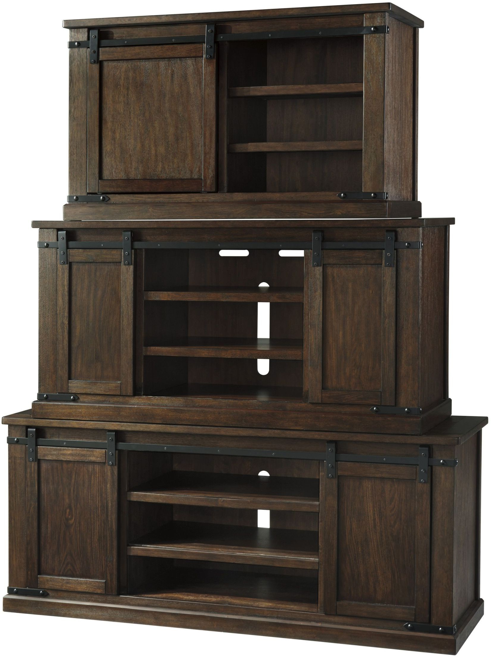 2017 Budmore Rustic Brown Large Tv Stand From Ashley (View 12 of 16)