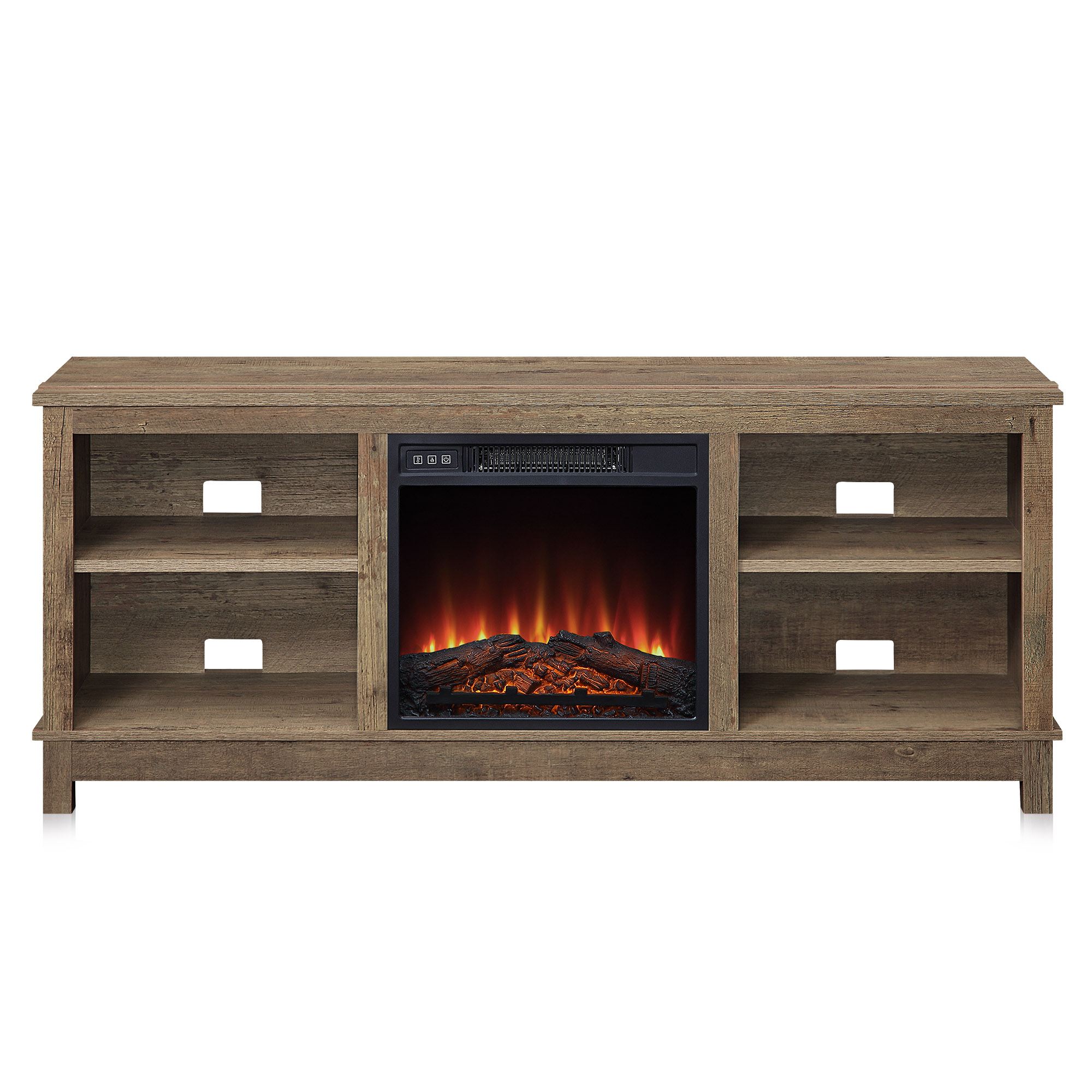 """2017 Fireplace Media Console Tv Stands With Weathered Finish In Belleze 58"""" Charmant Fireplace Tv Stand With Remote (View 1 of 10)"""