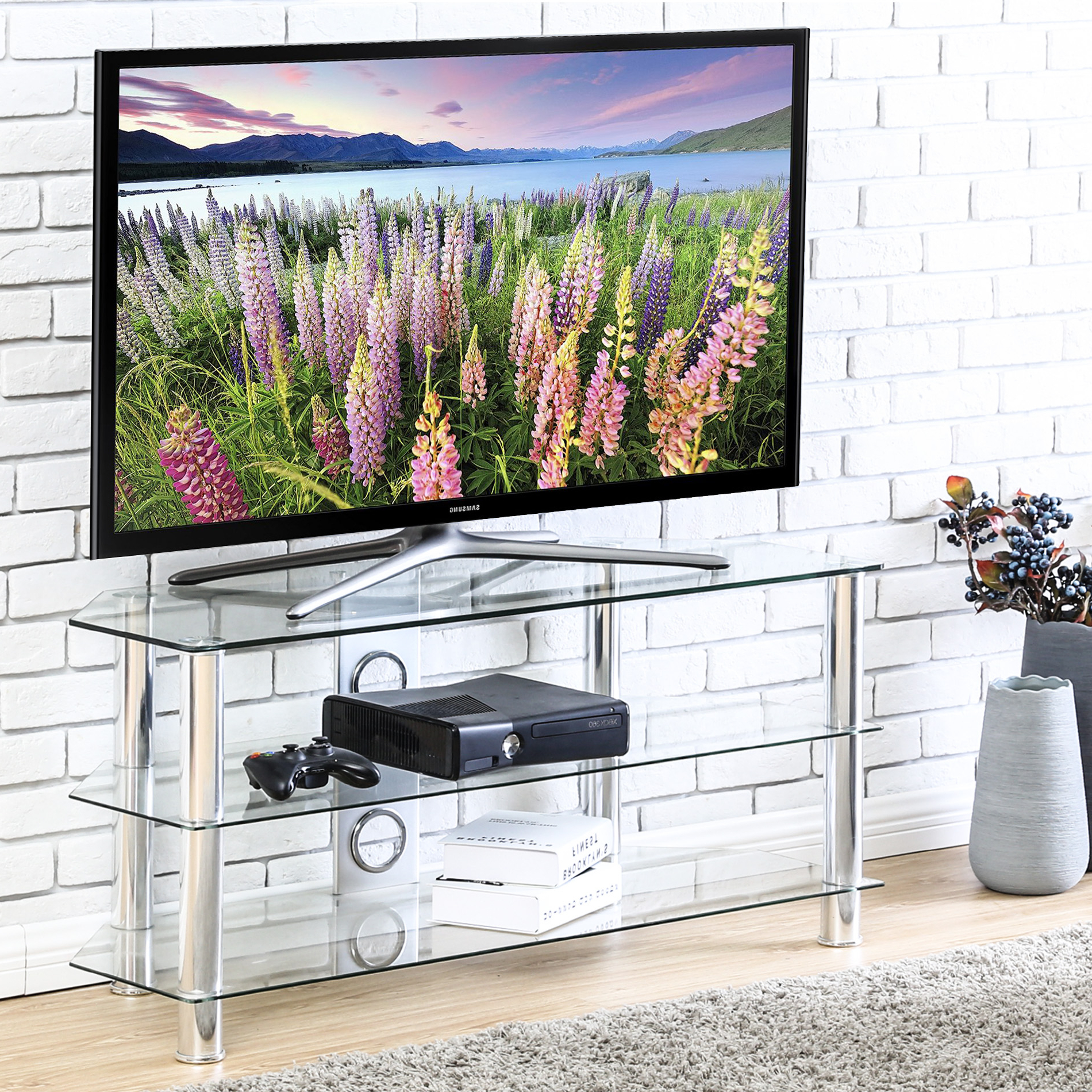 """2017 Fitueyes Wood Tv Stand Storage Console With Wheels For 23 With Maubara Tv Stands For Tvs Up To 43"""" (View 20 of 25)"""