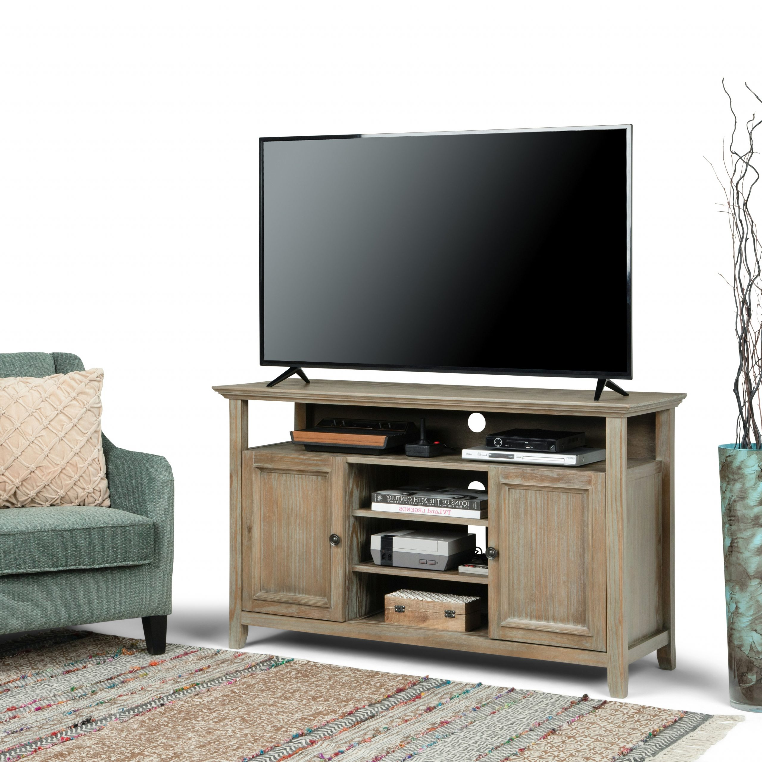 """2017 Giltner Solid Wood Tv Stands For Tvs Up To 65"""" Intended For Wyndenhall Halifax Solid Wood 54 Inch Wide Transitional Tv (View 12 of 25)"""