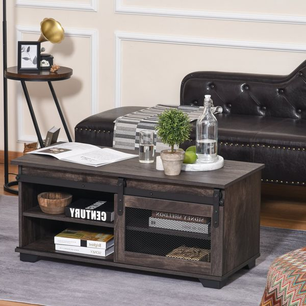 2017 Homcom Farmhouse Coffee Table With Sliding Mesh Barn Door With Regard To Tv Stands With Table Storage Cabinet In Rustic Gray Wash (View 10 of 10)