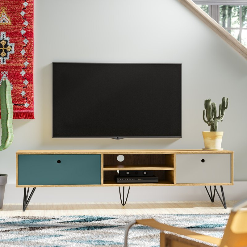 2017 Indi Wide Tv Stands Pertaining To George Oliver Amalia Industrial Low Wide Tv Stand For Tvs (View 21 of 25)
