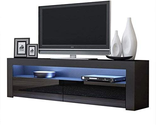2017 Milano White Tv Stands With Led Lights Pertaining To New Tv Console Milano Classic Black – Tv Stand Up To  (View 11 of 25)