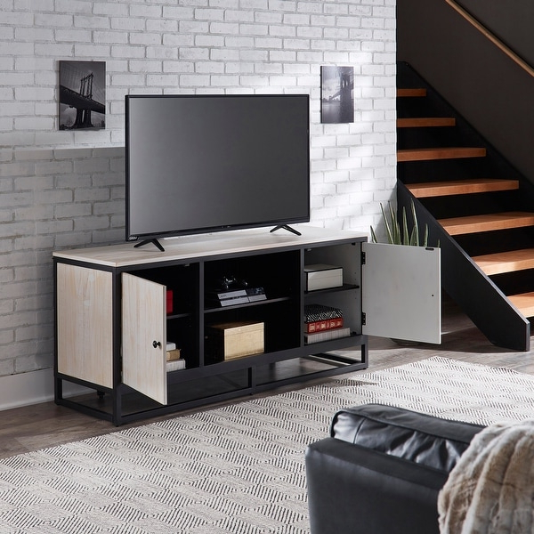 2017 Modern Black Floor Glass Tv Stands For Tvs Up To 70 Inch Pertaining To Micah Distressed Finish Black Metal 58 Inch Tv Stand (View 9 of 10)