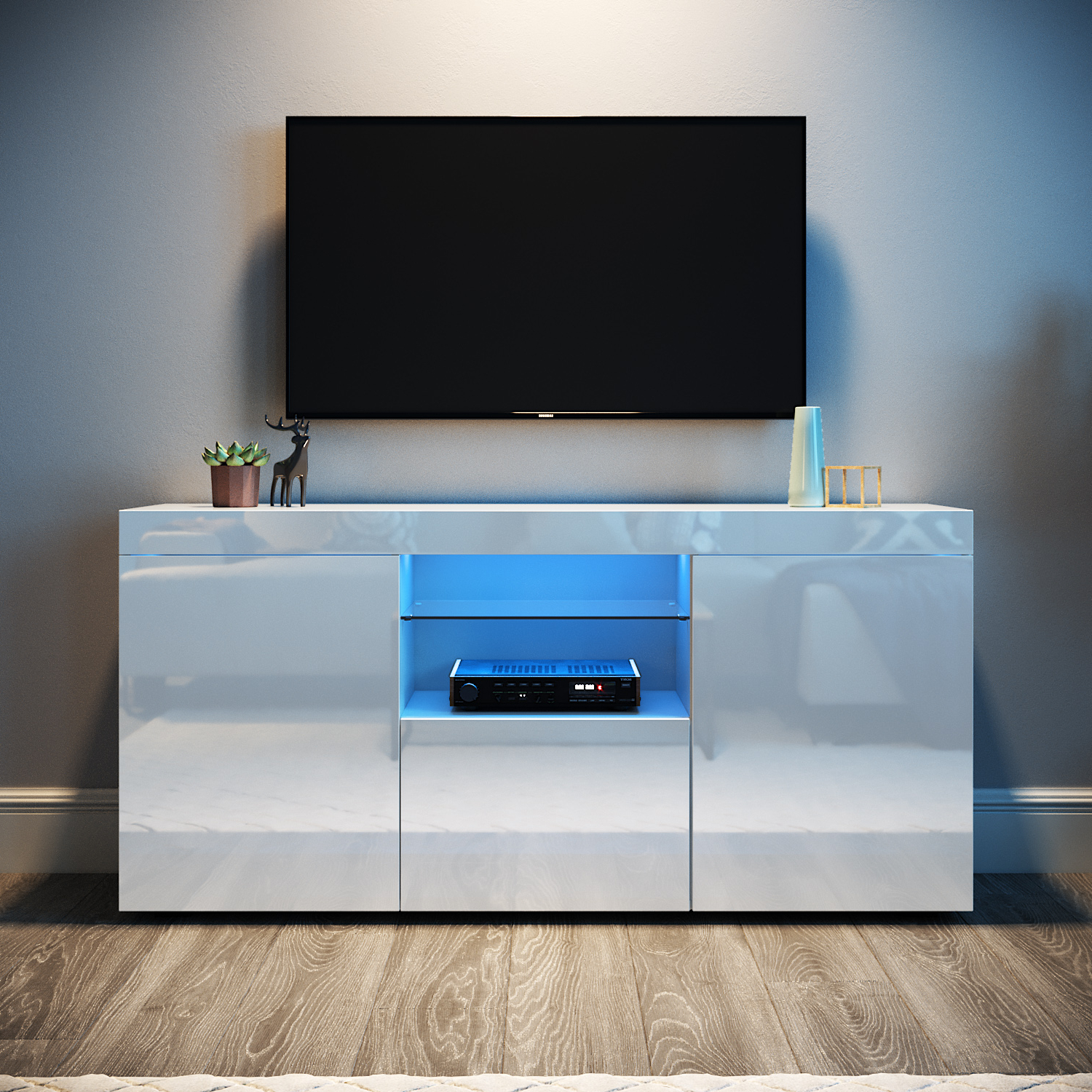 2017 Modern Entertainment Unit Tv Stand White Cabinet High Pertaining To Tv Stands Cabinet Media Console Shelves 2 Drawers With Led Light (View 1 of 10)