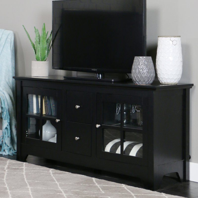 """2017 Modern Tv Stands In Oak Wood And Black Accents With Storage Doors In Poulson Tv Stand For Tvs Up To 60"""" (View 2 of 10)"""