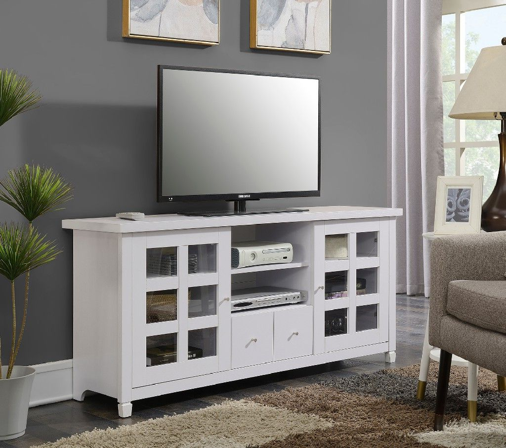 """2017 Newport Park Lane 60"""" Tv Stand In White – Convenience Intended For Convenience Concepts Newport Marbella 60"""" Tv Stands (View 6 of 10)"""