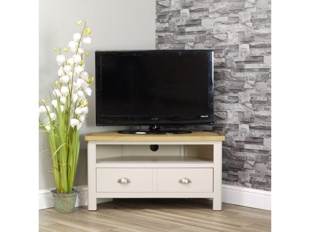 2017 Penelope Dove Grey Tv Stands Regarding Dorset Oak 90cm Corner Tv Unit For Screens Up To  (View 5 of 10)