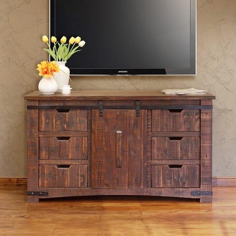 2017 Pueblo Barn Door Tv Stand Pertaining To Barn Door Wood Tv Stands (View 10 of 10)