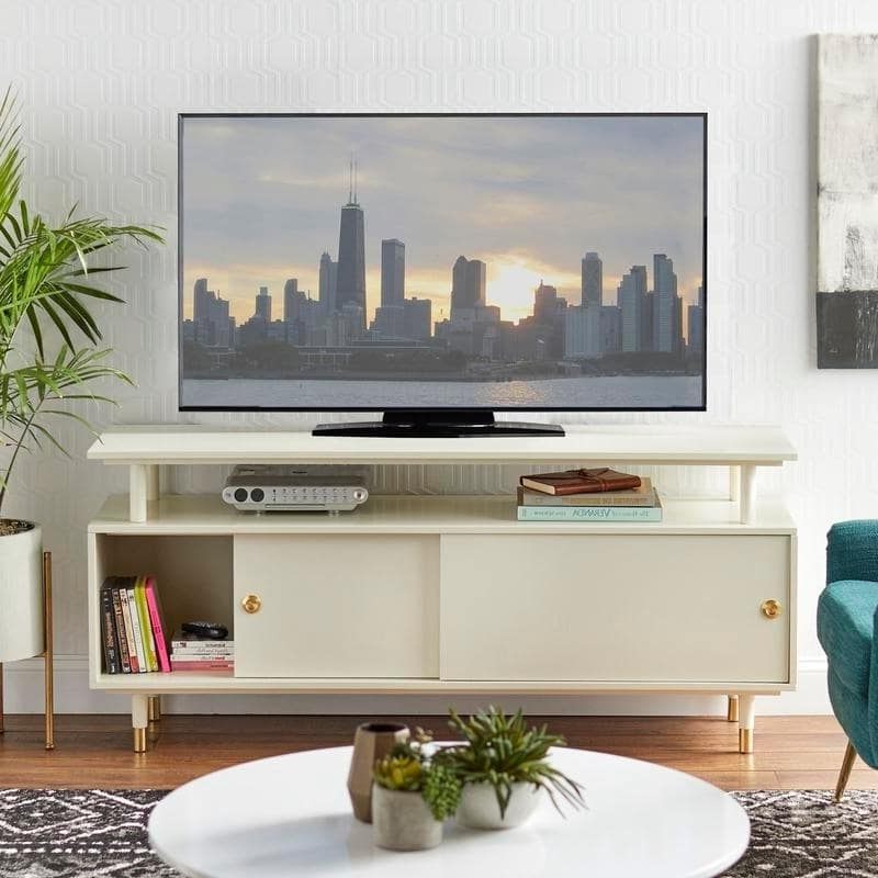 2017 Tv Console Stand Mid Century Modern Design Entertainment For Compton Ivory Extra Wide Tv Stands (View 14 of 25)