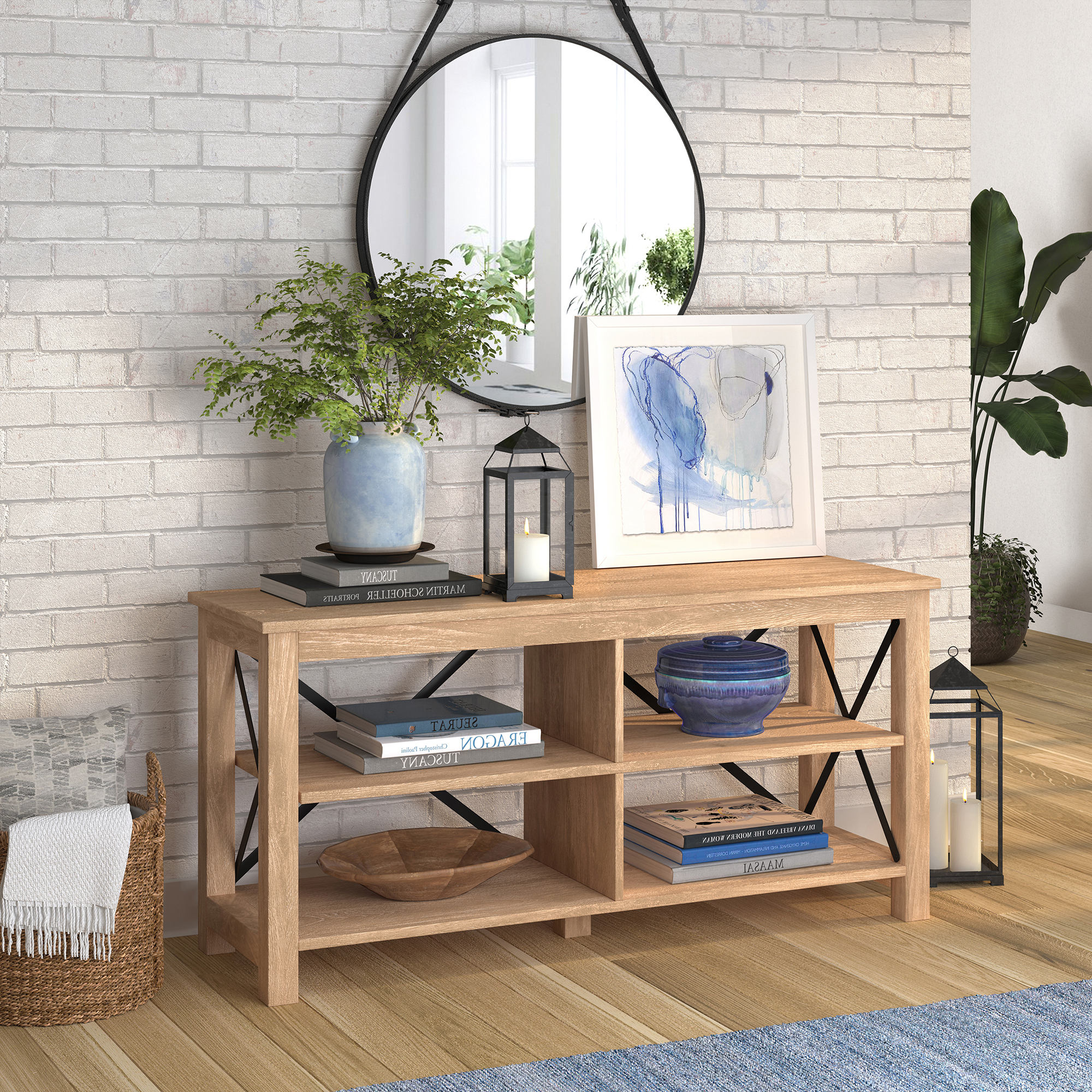 """2017 Twila Tv Stands For Tvs Up To 55"""" For Evelyn&zoe Modern Farmhouse Geometric Tv Stand For Tvs Up (View 24 of 25)"""