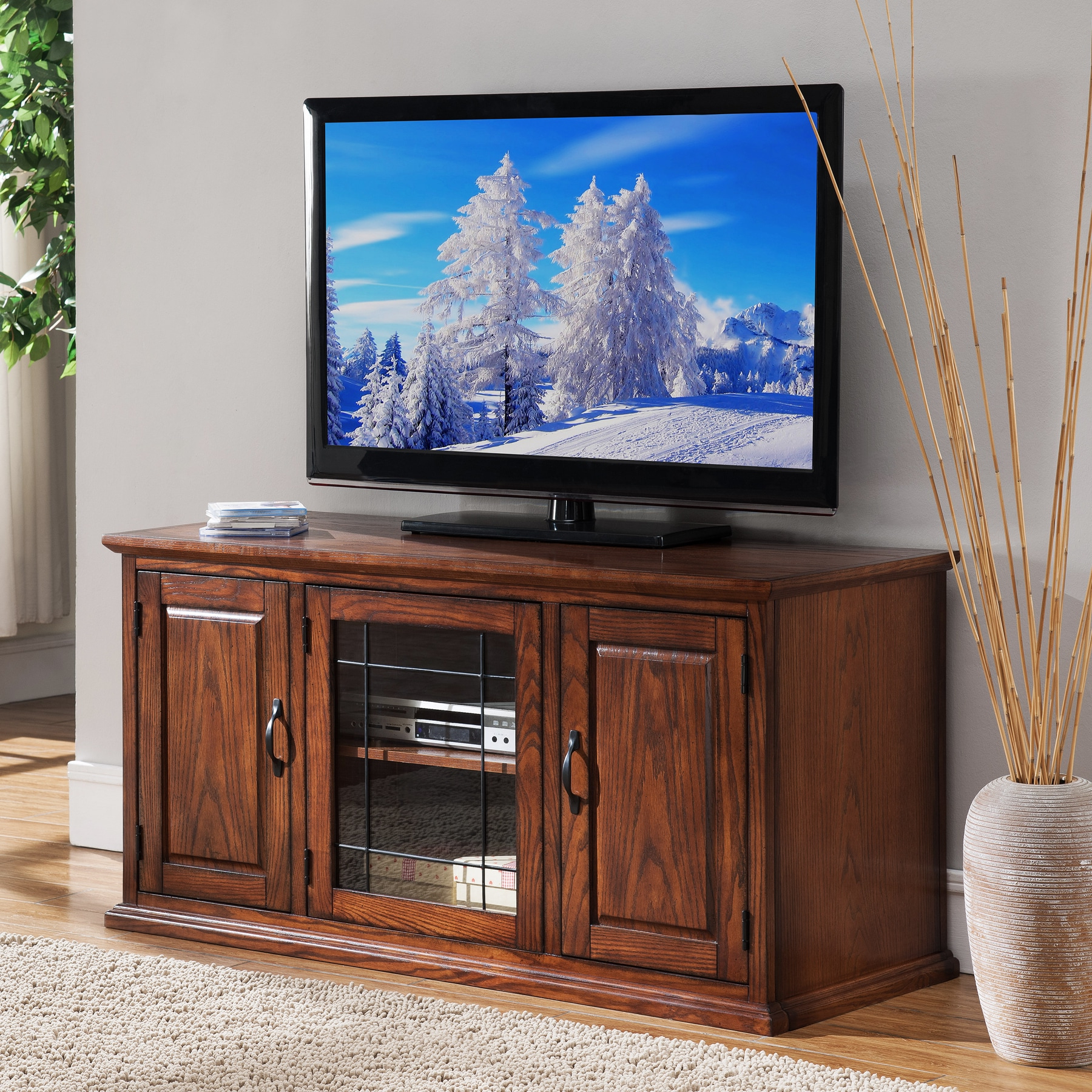 """2017 Virginia Tv Stands For Tvs Up To 50"""" Regarding Shop Oak Wood/glass 50 Inch Leaded Tv Stand – Free (View 1 of 25)"""