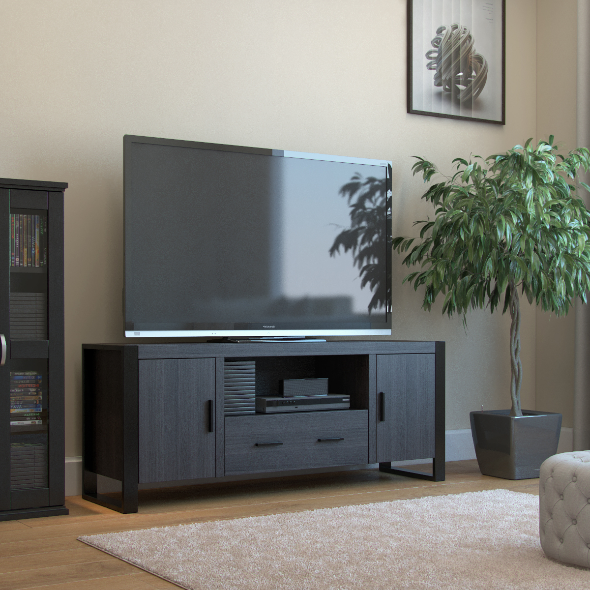 """2018 Adayah Tv Stands For Tvs Up To 60"""" Throughout Ryan Rove Bermuda 60 Inch Tv Stand In Charcoal And Black (View 8 of 25)"""