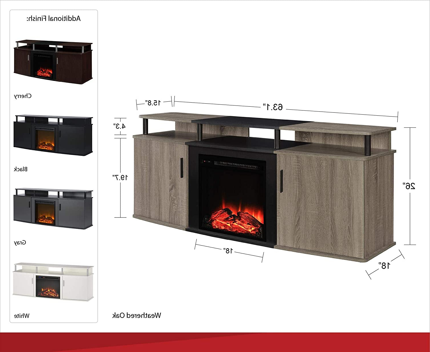 2018 Ameriwood Home Carson Electric Fireplace Tv Console For Pertaining To Ameriwood Home Carson Tv Stands With Multiple Finishes (View 10 of 10)