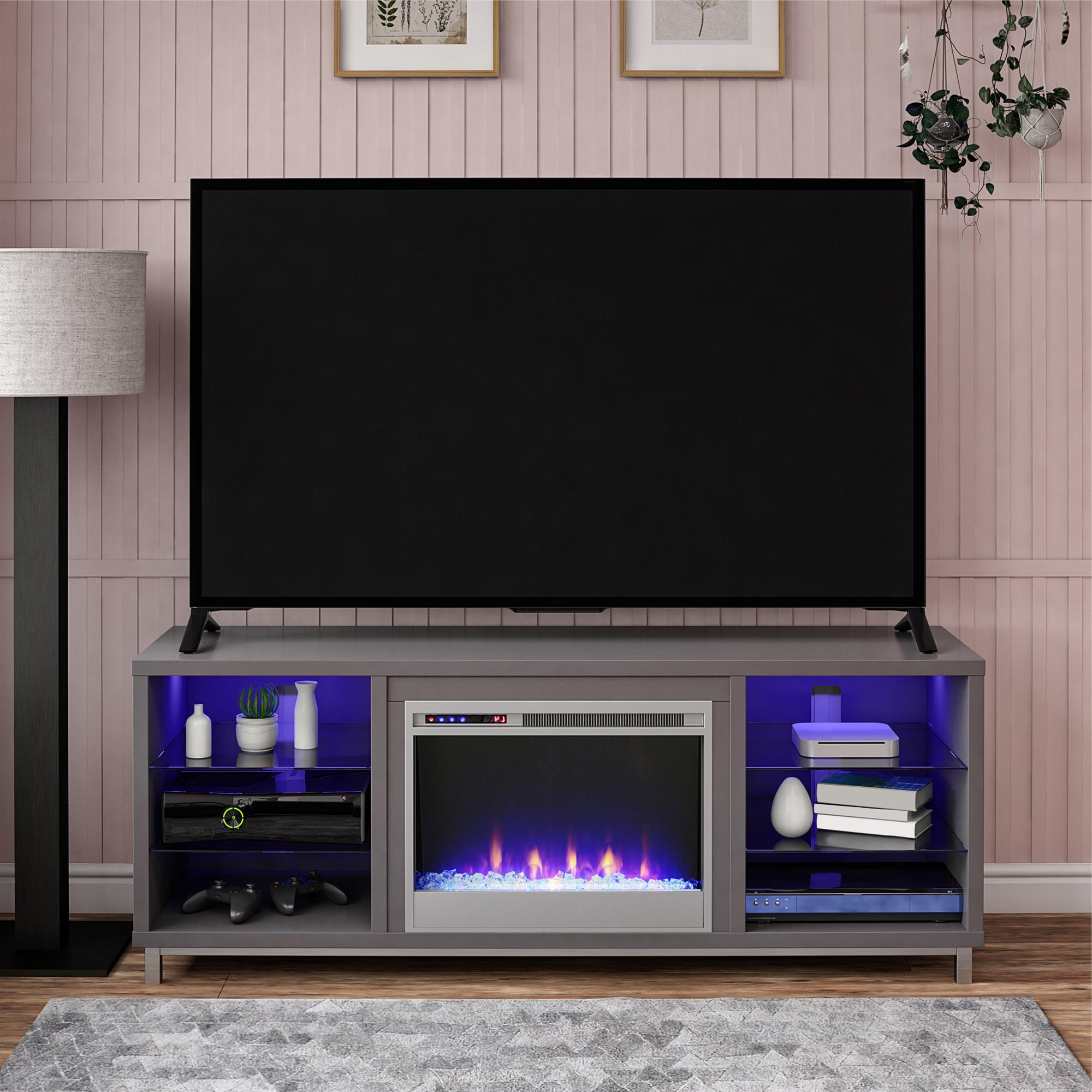 """2018 Ameriwood Home Rhea Tv Stands For Tvs Up To 70"""" In Black Oak In Ameriwood Lumina Fireplace Tv Stand For Tvs Up To 70"""" Wide (View 1 of 10)"""