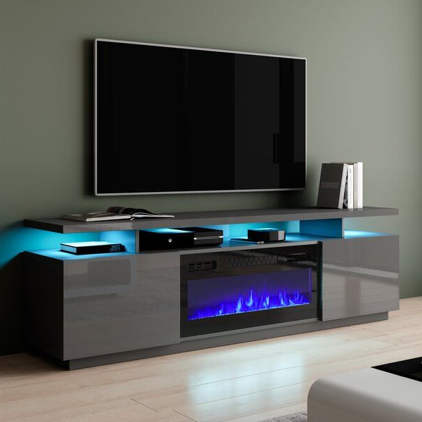 """2018 Ansel Tv Stands For Tvs Up To 78"""" Regarding Eva K Tv Stands Tv Stand For Tvs Up To 78"""" With Fireplace (View 20 of 25)"""