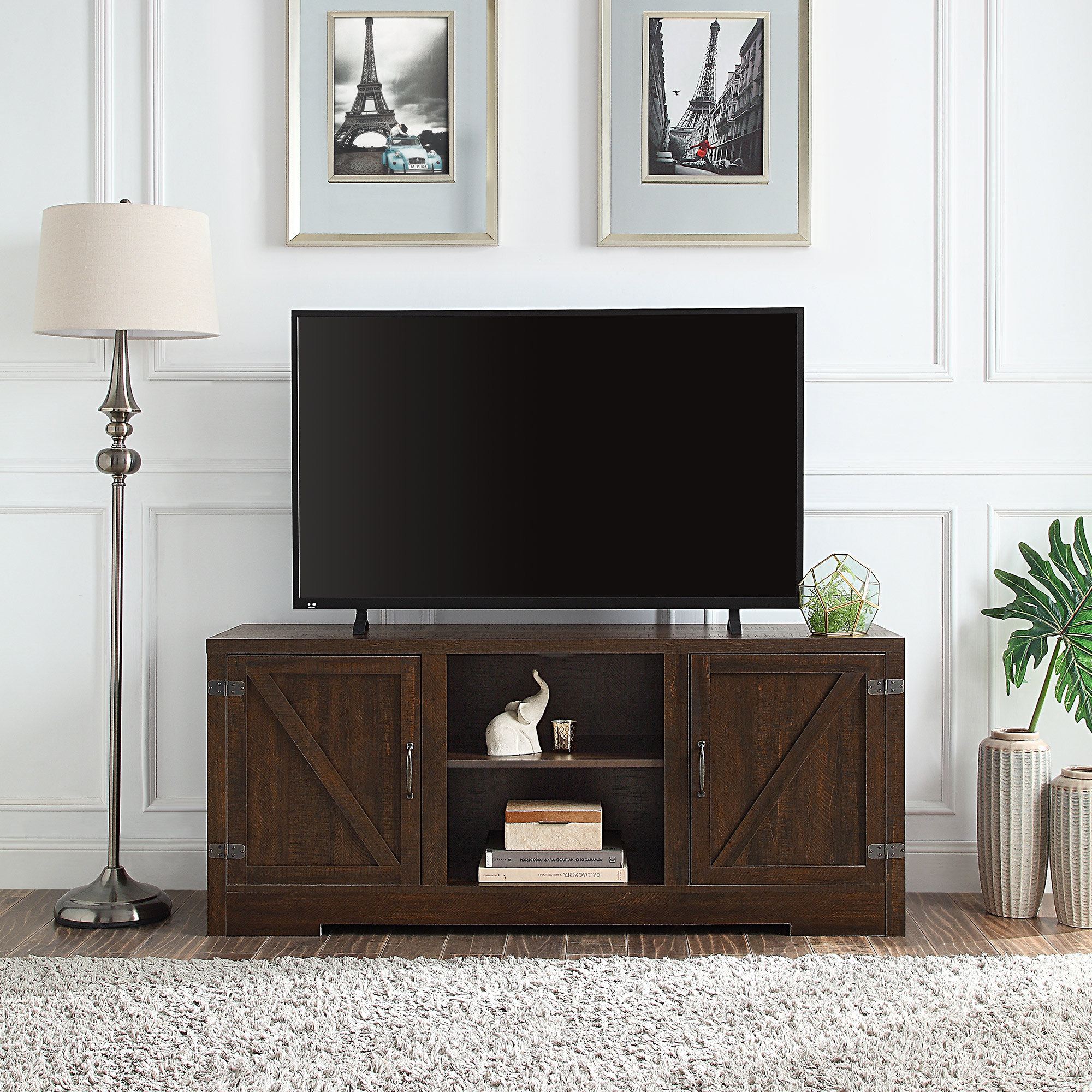 "2018 Belleze Hilo 58 Inch Barn Door Tv Stand Console For Tvs Up Regarding Kamari Tv Stands For Tvs Up To 58"" (View 10 of 25)"