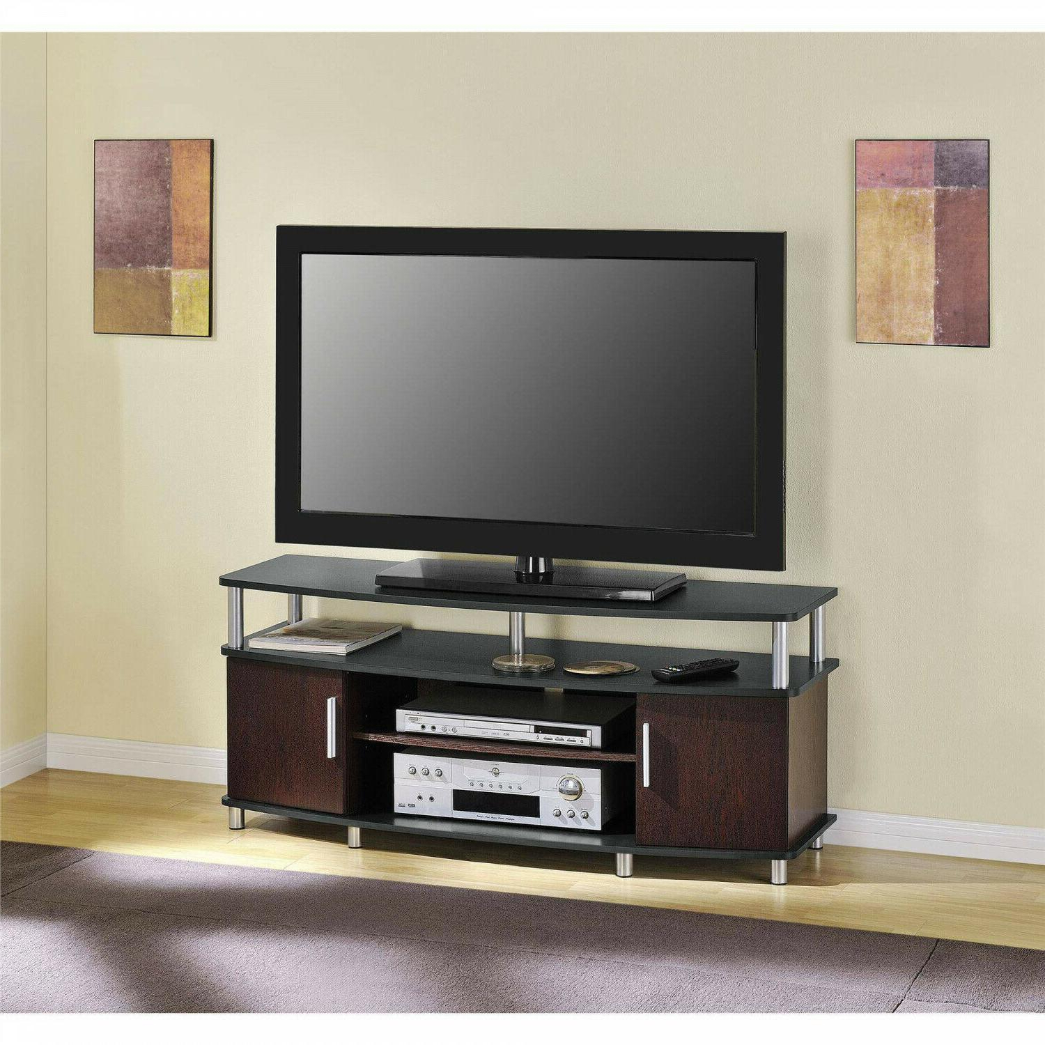 2018 Carson Tv Stands In Black And Cherry Regarding Ameriwood Home Carson Tv Stand Console Fits (View 5 of 10)