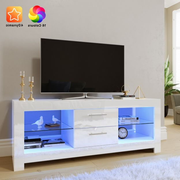 2018 Elegant 1300mm Gloss White Modern Led Tv Unit Stand (upto For Milano White Tv Stands With Led Lights (View 15 of 25)