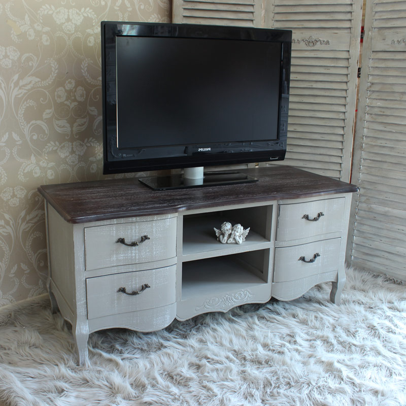 2018 Grey Tv Unit – Melody Maison® With Compton Ivory Corner Tv Stands With Baskets (View 5 of 25)