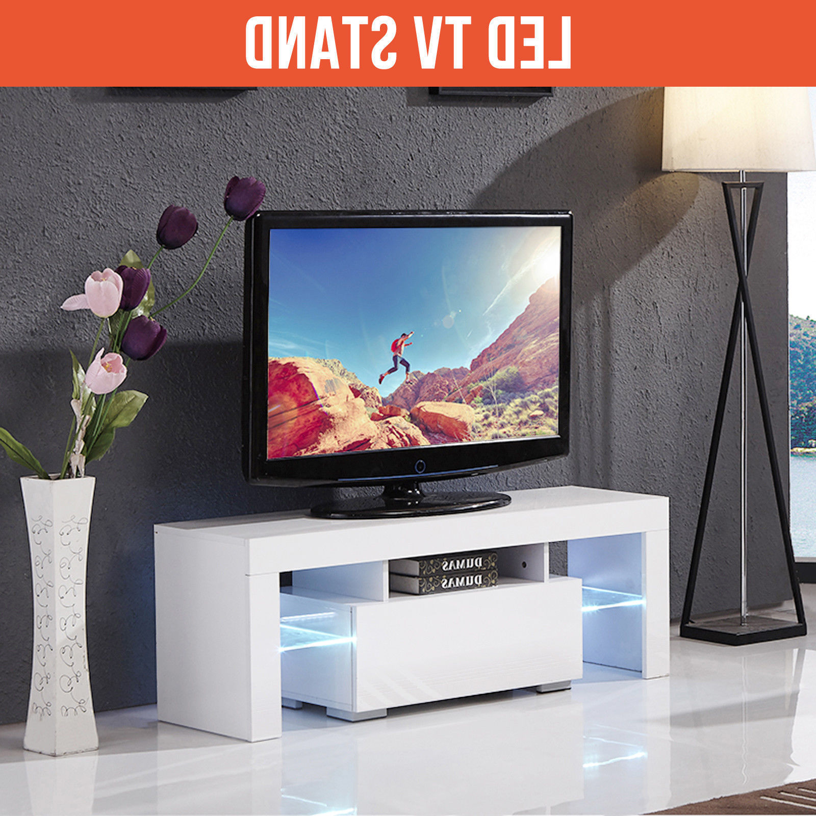 2018 Ktaxon Modern Led Tv Unit Cabinet Stand Shelf Table Free Within 57'' Led Tv Stands Cabinet (View 4 of 10)
