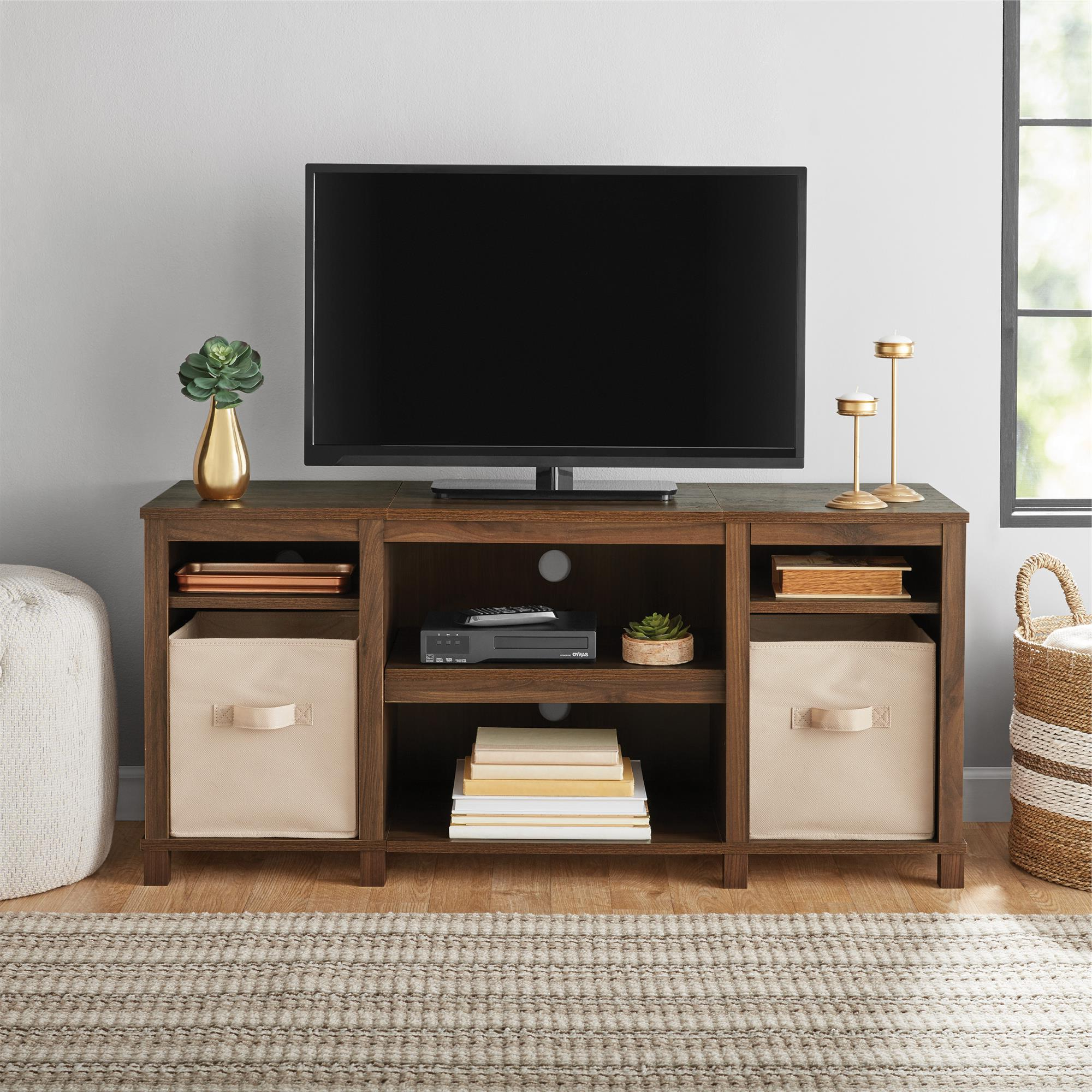 """2018 Mainstays Parsons Cubby Tv Stand For Tvs Up To 50"""", Walnut Throughout Allegra Tv Stands For Tvs Up To 50"""" (View 2 of 25)"""