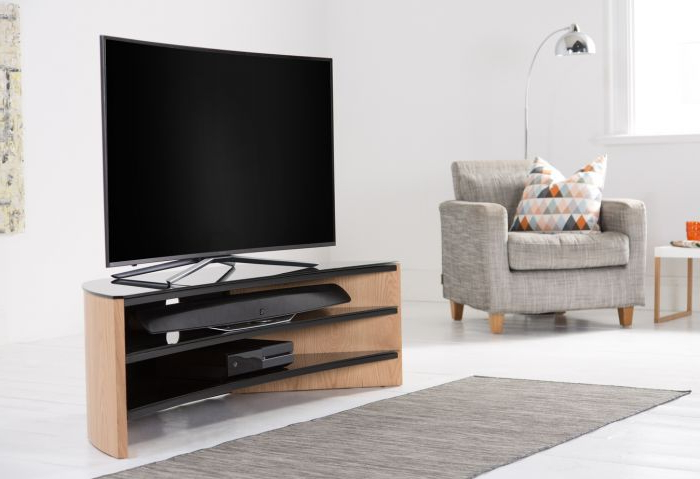 2018 Sidmouth Oak Corner Tv Stands Intended For Alphason Finewoods Corner Tv Stand  Light Oak – Fw1400c Lo (View 10 of 10)