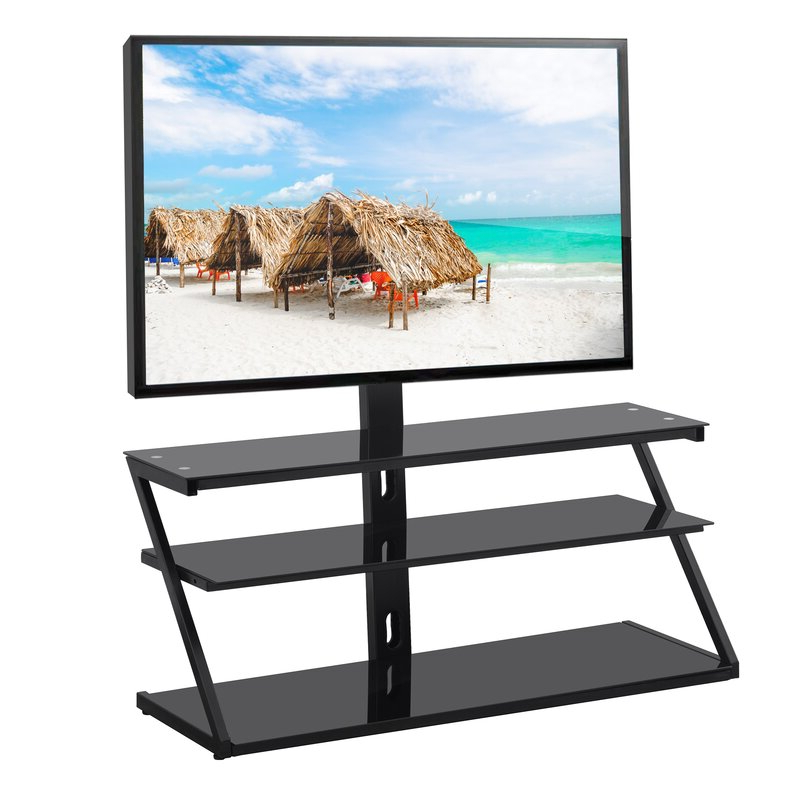 2018 Symple Stuff Bunton Symple Stuff Black Swivel Floor Stand Intended For Randal Symple Stuff Black Swivel Floor Tv Stands With Shelving (View 11 of 25)