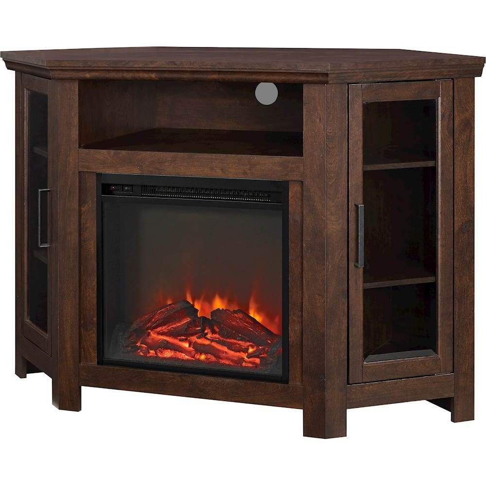 """2018 Walker Edison Wood Fireplace Corner Tv Console / Stand For Inside Virginia Tv Stands For Tvs Up To 50"""" (View 21 of 25)"""