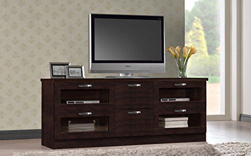 2018 Wholesale Interiors Baxton Studio Adelino Wood Tv Cabinet With Dark Brown Tv Cabinets With 2 Sliding Doors And Drawer (View 8 of 10)