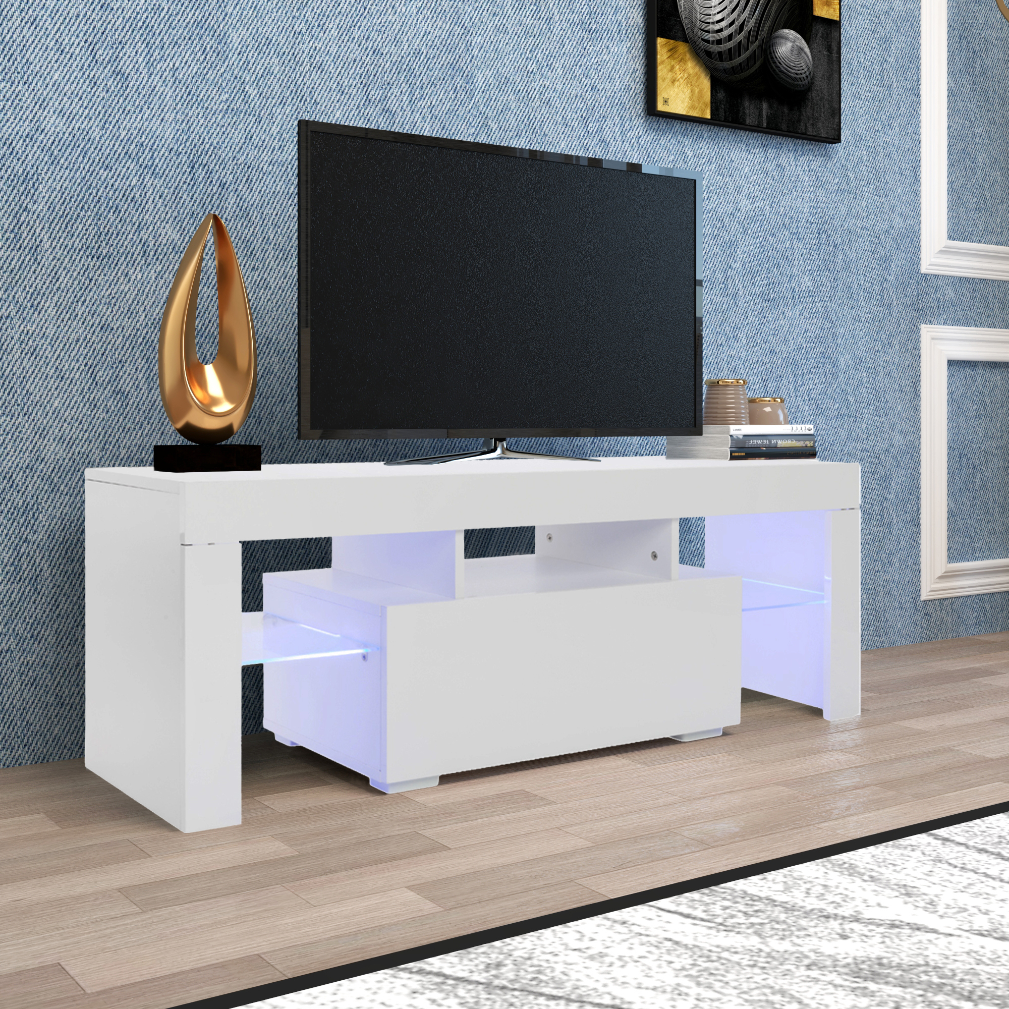 2018 Zimtown Tv Stands With High Gloss Led Lights Regarding Entertainment Centers And Tv Stands, Yofe Tv Stand With (View 3 of 10)