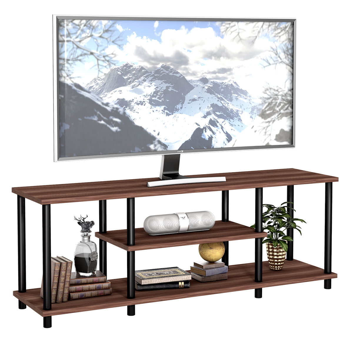 3 Tier Wood Tv Stand Media Game Console Storage Cabinet With Regard To Popular Tier Entertainment Tv Stands In Black (View 1 of 10)