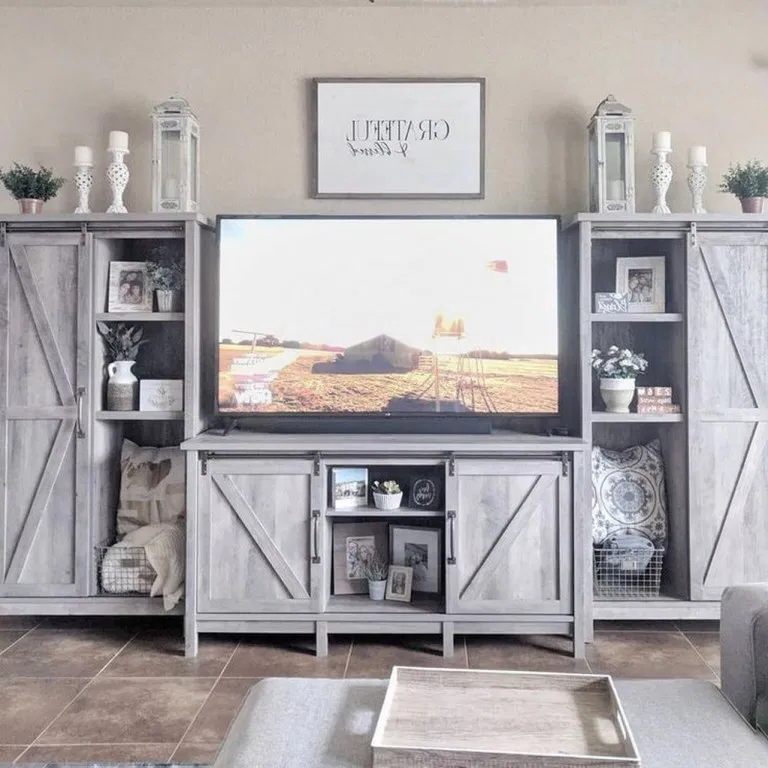 38+ Best Farmhouse Living Room Tv Stand Design Ideas With Recent Urban Rustic Tv Stands (View 10 of 10)