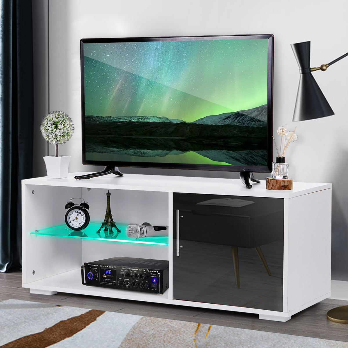 """39"""" Modern High Gloss Tv Stand Cabinet With Led Shelves Within Trendy Polar Led Tv Stands (View 1 of 10)"""