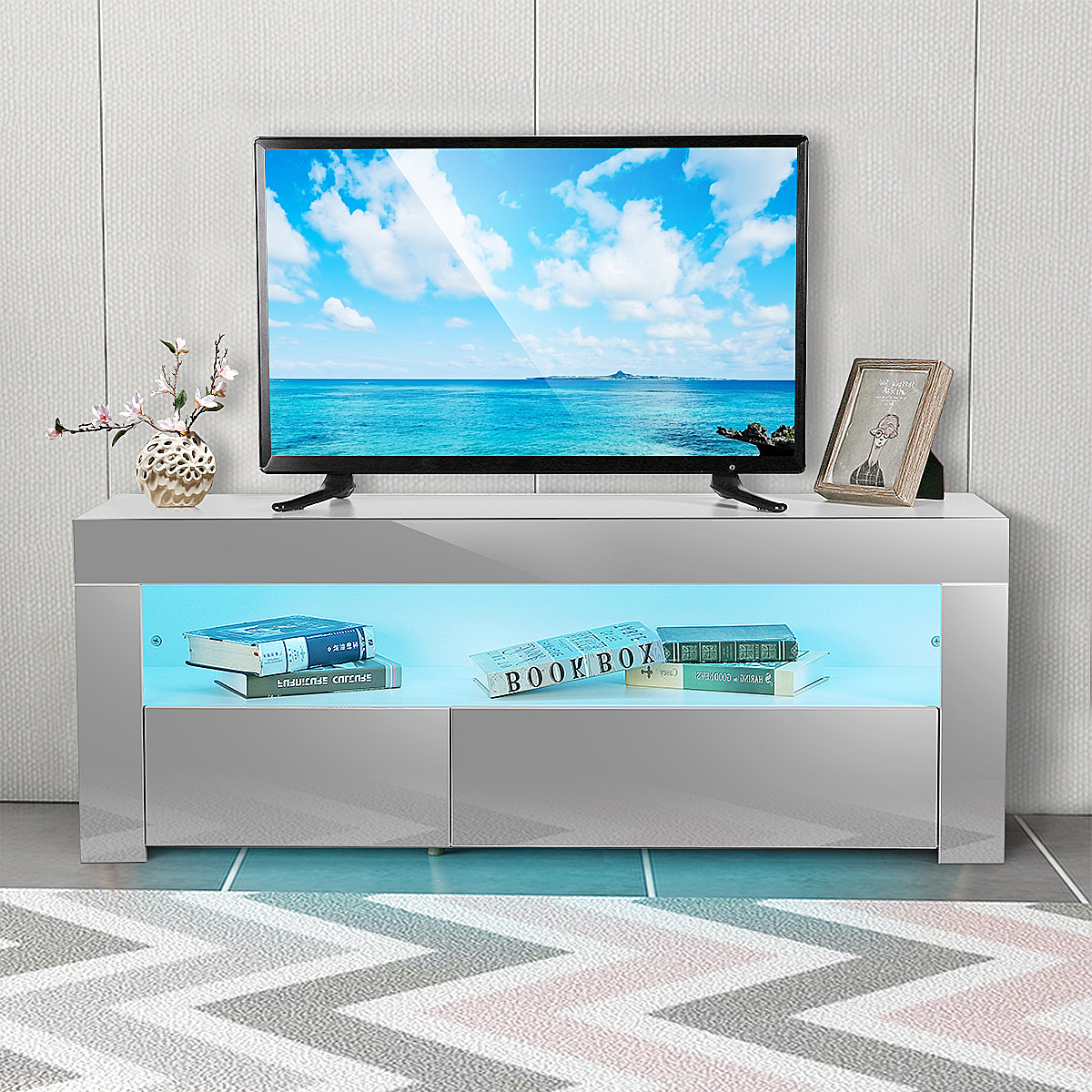 """47"""" Tv Stand High Gloss Tv Cabinet, With 16 Color Leds, 2 Regarding 2017 Baba Tv Stands For Tvs Up To 55"""" (View 17 of 25)"""