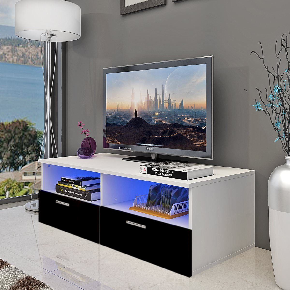 """47"""" Tv Stands High Gloss Tv Cabinet With 2 Drawers For 2018 Modern Tv Cabinet Stand 1 Or 2 Drawers Unit Front High (View 3 of 10)"""