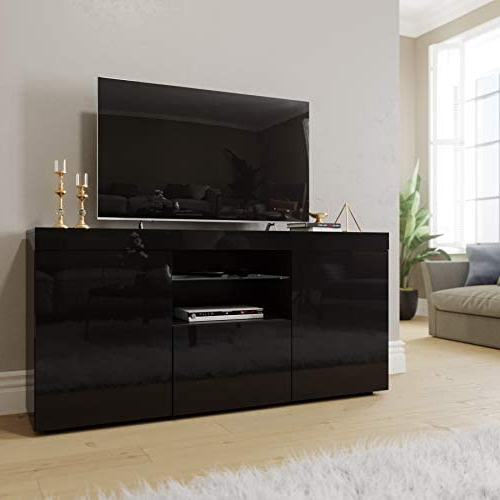 """47"""" Tv Stands High Gloss Tv Cabinet With 2 Drawers Intended For Popular Elegant 1200mm Modern High Gloss White Tv Stand Cabinet (View 5 of 10)"""