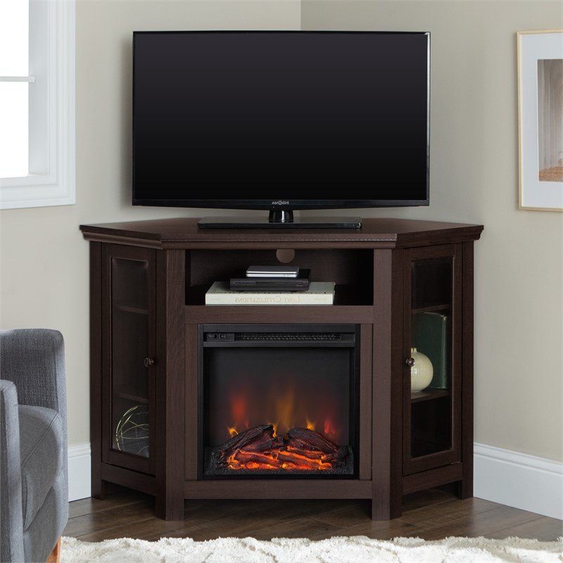 """48 Inch Wood Corner Fireplace Media Tv Stand In Espresso With Regard To Most Popular Antea Tv Stands For Tvs Up To 48"""" (View 18 of 25)"""