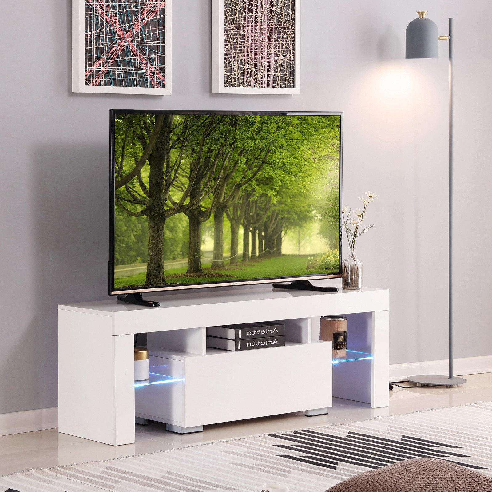 """51"""" High Gloss Tv Stand Cabinet Console Unit Furniture With Popular 47"""" Tv Stands High Gloss Tv Cabinet With 2 Drawers (View 1 of 10)"""