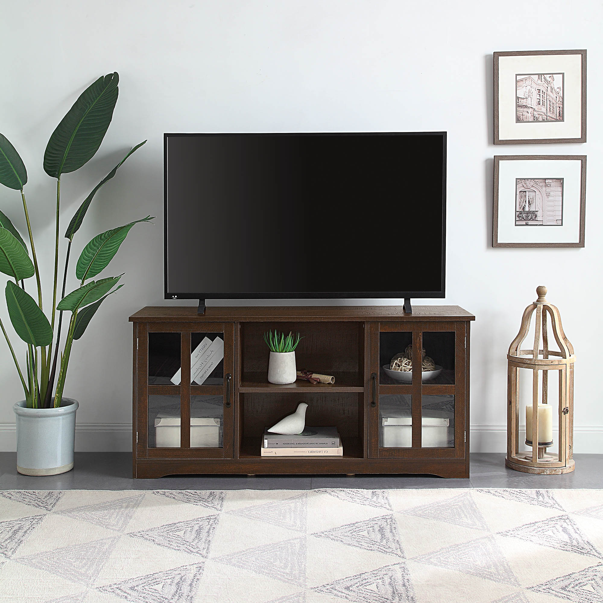 """52 Inch Tv Stand Wood & Glass Console For Tvs Up To 60"""" (View 11 of 25)"""