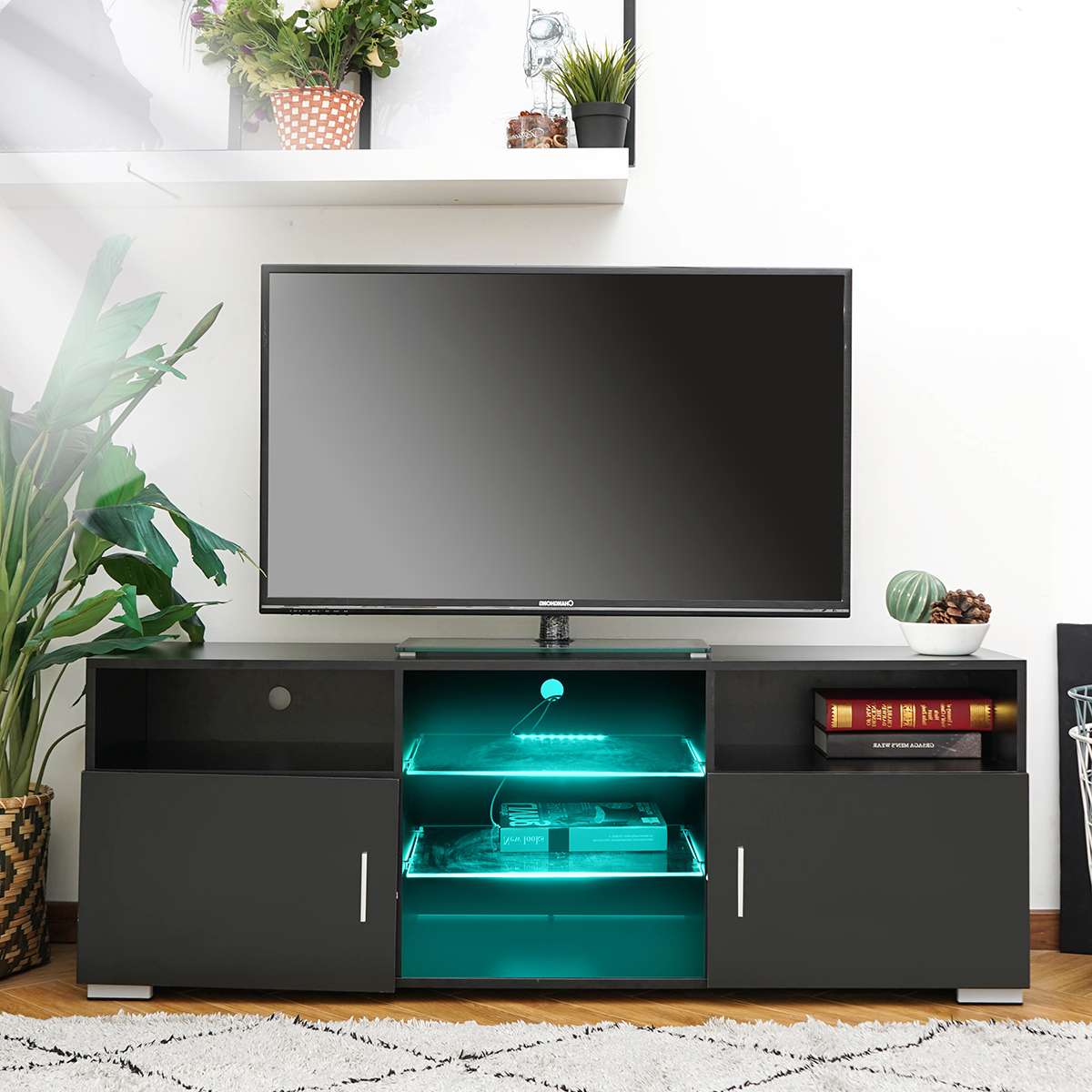 """57'' Led Tv Stand For Tvs Up To 61"""", With Rgb Led Light For 2018 57'' Tv Stands With Led Lights Modern Entertainment Center (View 8 of 10)"""
