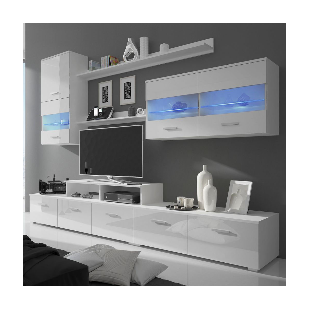 57'' Led Tv Stands Cabinet With Regard To Well Known China Latest Design Led Glossy Tv Stand Wall Hall Cabinet (View 8 of 10)