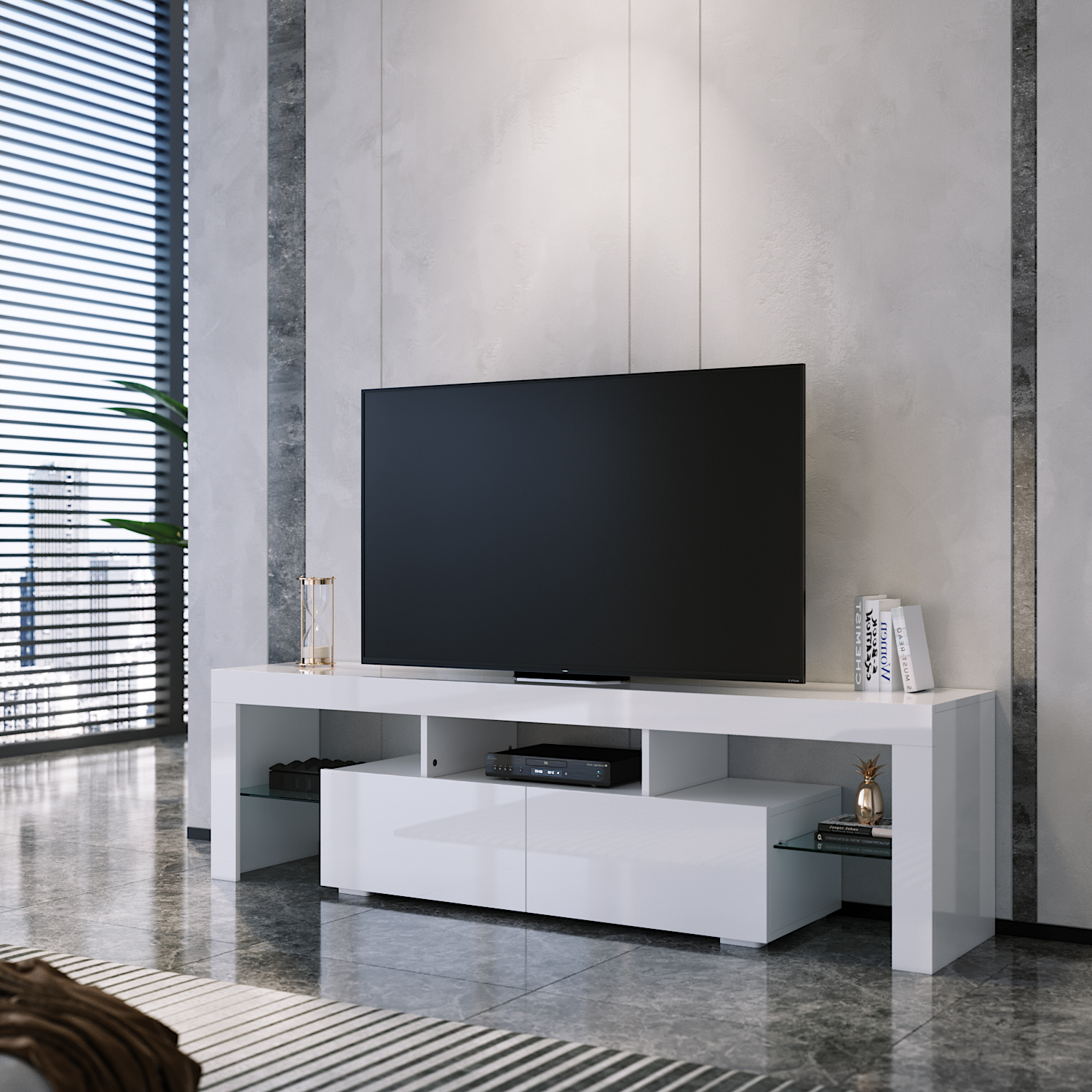 57'' Led Tv Stands With Rgb Led Light And Glass Shelves Intended For Favorite Modern 160cm Tv Unit Stand Matt Body & High Gloss Doors (View 10 of 10)