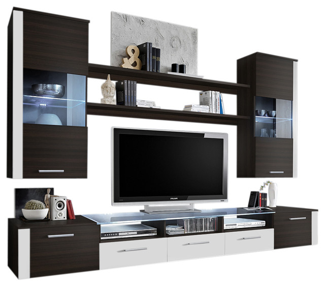 57'' Tv Stands With Led Lights Modern Entertainment Center For Recent Wall Unit Modern Entertainment Center With Led Lights (View 5 of 10)