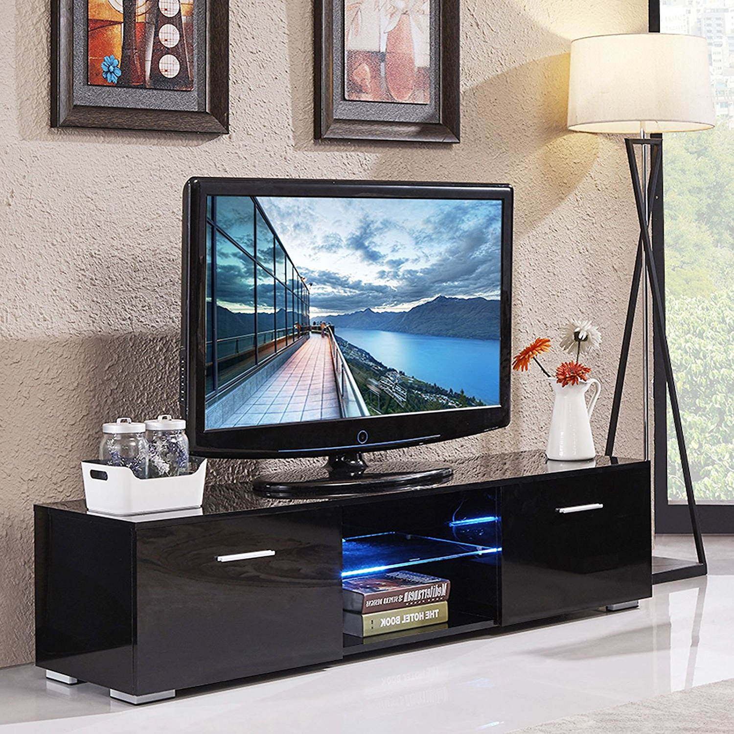 57'' Tv Stands With Led Lights Modern Entertainment Center Regarding Widely Used Buy Outad High Gloss Tv Stand With Led Light And 2 Drawers (View 3 of 10)