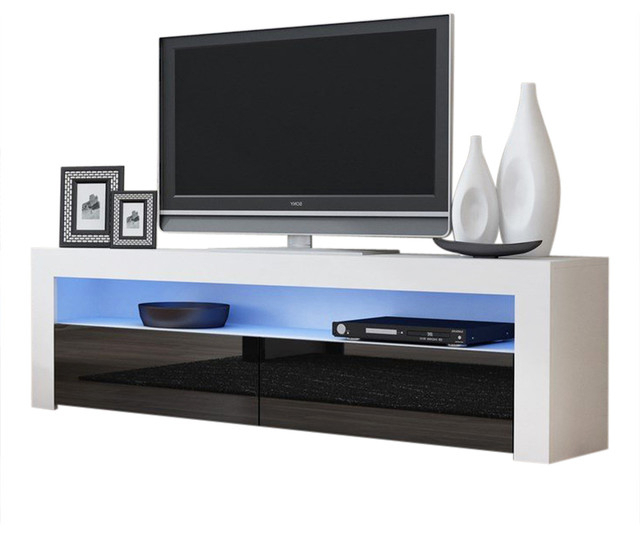 """57'' Tv Stands With Led Lights Modern Entertainment Center With Most Current Tv Stand Milano Classic White Body Modern 65"""" Tv Stand Led (View 4 of 10)"""